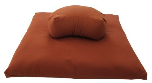 Buckwheat Crescent Zafu and Zabuton Meditation Cushion Set (2pc), Clay