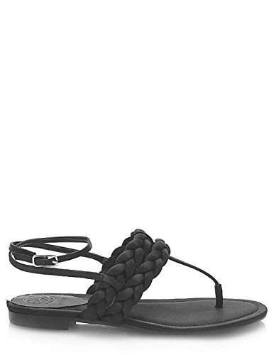 Guess Black Flat Sandals by (40 - Black)