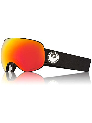 Dragon Alliance X2 Black Snow Goggles for Men/Women, Red Ion