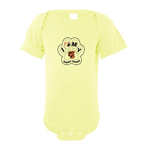 Price comparison product image BORDER TERRIER DOG I PAW MY Baby Bodysuit One Piece Yellow 1875 Monts