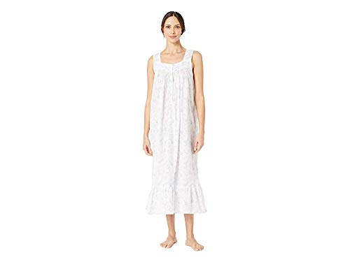 Eileen West Women's Cotton Woven Swiss Dot Sleeveless Ballet Nightgown White Ground Floral Scroll Small