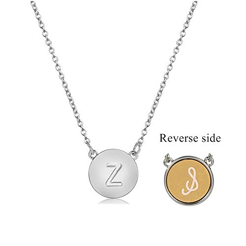 MissNity Initial Letter Z Necklace 26 Alphabets from A-Z Two-Tone Double Sides Engraved Pendant for Girls Women (Things That Begin With The Letter Z)