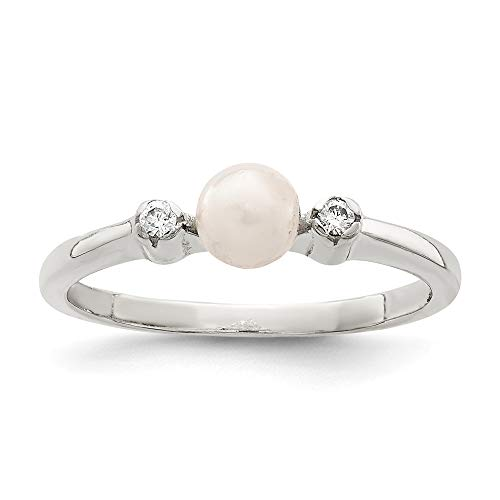 925 Sterling Silver Cubic Zirconia Cz Freshwater Cultured Pearl Band Ring Size 6.00 Fine Jewelry For Women Gifts For Her