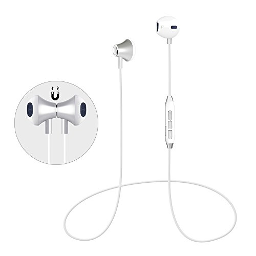 Bluetooth Headphones Magnetic Wireless Sport Earphones In-Ear HD HiFi Stereo Earbuds Noise Cancelling Headset with Mic, Secure Fit, IPX4 Sweatproof, Lightweight for Samsung Galaxy S7 S8 and SmartPhone