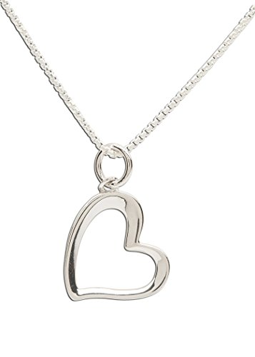 (Girl's Sterling Silver Necklace with Open Heart Charm, 16-18