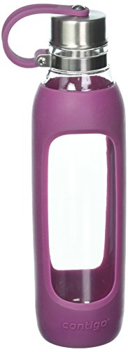 Contigo Purity Glass Water Bottle with Silicone Tethered Lid, 20oz, Radiant (Pretty Pink Orchid)