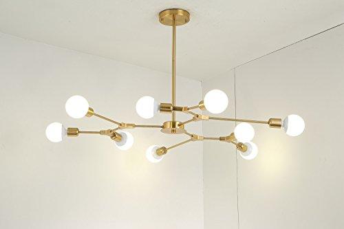 Modern Nine Light (BOKT Mid Century Modern 9-Light Chandeliers Multi-Adjustable Chandelier Lighting Golden Sputnik Kitchen Island Lighting E26/E27 Bulb Sockets)