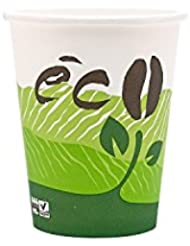 Life In Green 8 Ounce Compostable PLA Hot Paper Cup 100 Biodegradable Eco Design 1000 Ct Case OFFICE BREAKROOM WEDDING EVENT CUPS HOLIDAY CUPS