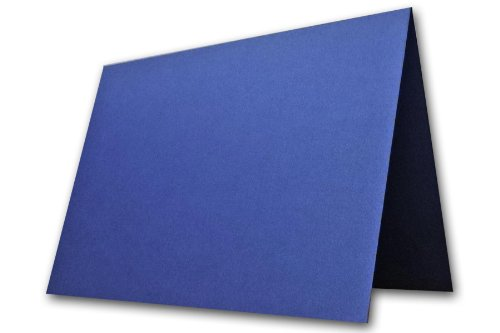 Blank Metallic Blue Place Cards Tent Cards - 50 Pack | Size 3.5