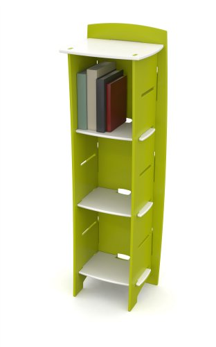 Bookcase Kitchen Legare (Legaré Kids Furniture Frog Series Collection, No Tools Assembly 3-Shelf Bookcase, Lime Green and White)