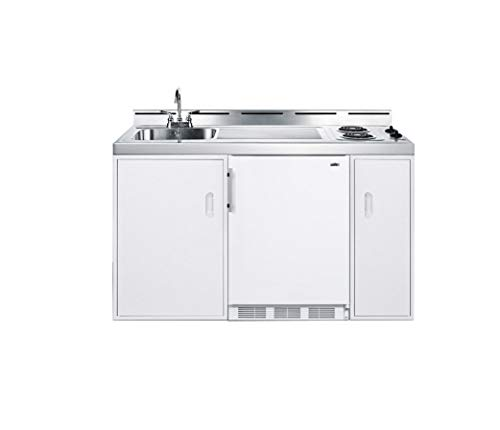"""Summit 60"""" 2 Burner Electric Combination Kitchen with CT661 Compact Refrigerator White Cabinet and Stainless Steel"""