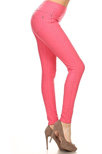 Leggings Depot Premium Quality Jeggings Regular and Plus Soft Cotton Blend Stretch Jean Leggings Pants w/Pockets (One Size (Size 0-12), Hot Coral) (Stretch Plus Jeans)