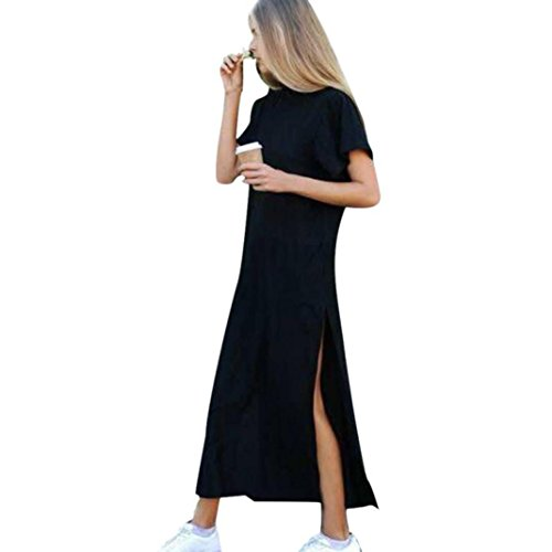 TOTOD Women Casual Sexy Side High Slit Elegant Black Short Summer Sleeves Dress (L, Black) -
