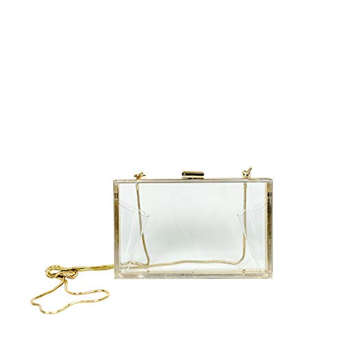 MB Greene Designer Box Style Clear Stadium Approved Purse Cross Body Bag with Chain for Evening, Concerts and Sporting Events (Includes Privacy Pouch - $10.00 Value) (Pouch Metallic Bag Evening)