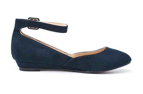 Strap PAIRS DREAM Navy Ankle Suede Flats Low Wedge Womens REVONA Shoes YYqxrUp
