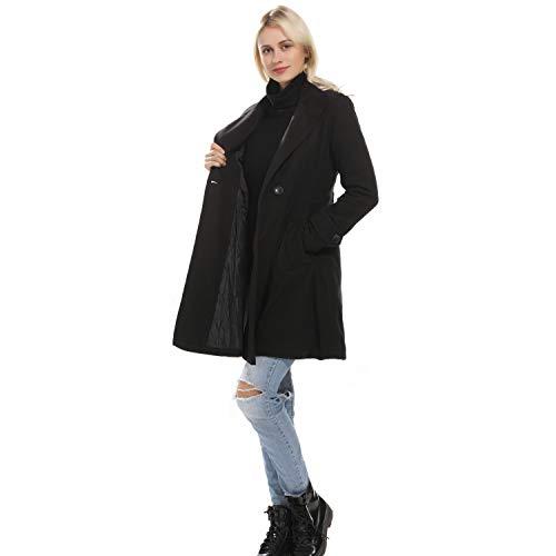 (Women Winter Swing Plus Velvet Double Breasted Wool Pea Dress Coat with Belt Buckle Spring Mid-Long Long Sleeve Lapel Dresses Outwear (Black, M))