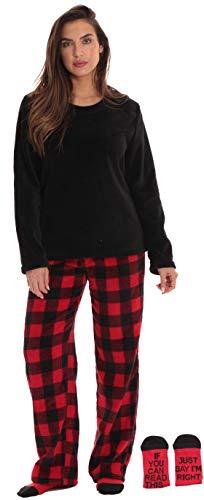 Just Love Womens Plush Pajama Pants Set with Socks 6808-10195-RED-M