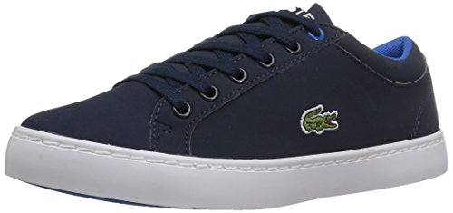 Lacoste Unisex-Kids Straightset Lace 417 1 Caj Sneaker, Navy, 4 M US Big Kid