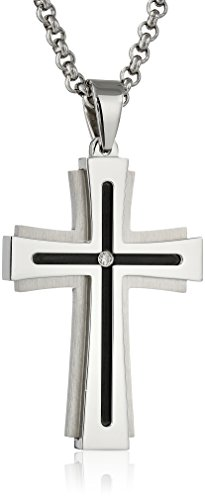 Men's 0.03 Ctw Stainless Steel Stacked Cross Pendant Necklace, 24