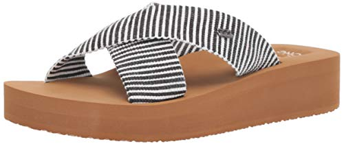 Billabong Women's Boardwalk Wedge Sandal, Black/White, 8 M ()