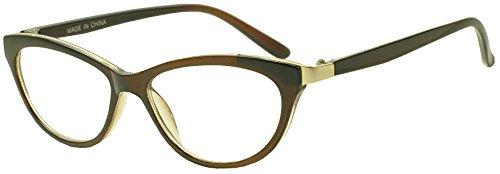 Womens Modern Cat Eye Reading Eye Glasses Full Lens No Line Positive Rx Magnification 1.00 1.25 1.50 1.75 2.00 2.25 2.50 2.75 3.00 & 3.50 (Brown | Gold, - Shell Tortoise Glasses Rim Half