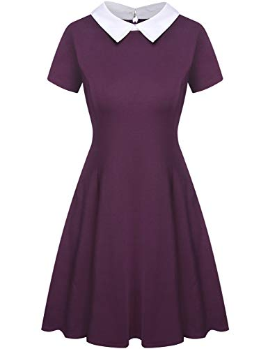 Aphratti Women's Short Sleeve Casual Peter Pan Collar Flare Dress Purple -