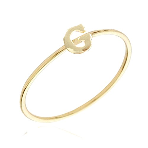 Gold Plated Stackable Initial Letter Ring Size 6, Letter G