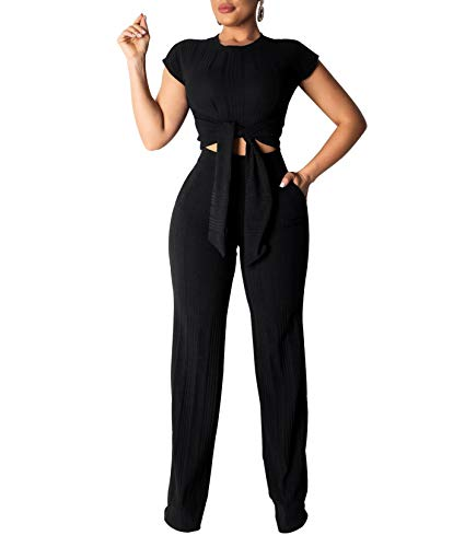 Remelon Womens Short Sleeve Ribbed Tie Up Crop Top Pockets Loose Long Pants Set 2 Piece Outfits Jumpsuits Black XL