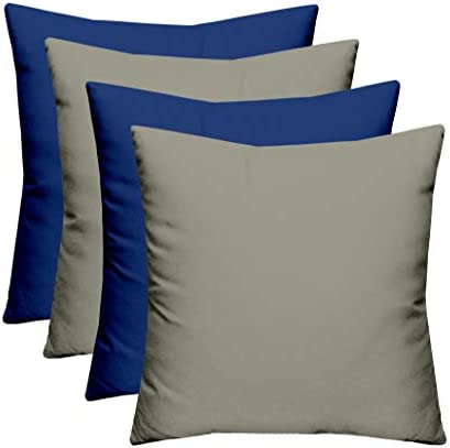 RSH D cor Indoor Outdoor Blue Mix Set of 4-17″x 17″ Square Pillow Set Weather Resistant