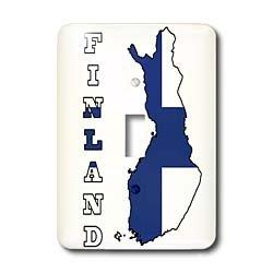 3dRose LLC lsp_58800_1 La bandera de Finlandia con el contorno del mapa del país y el interruptor de palanca única...