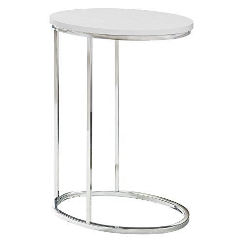 Monarch Specialties Oval with Chrome Metal Accent Table, 19 L x 12 D x 25 H, Glossy White