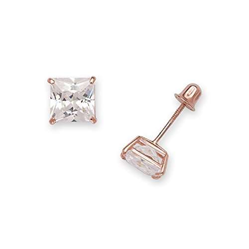 Sold 14k Rose Gold Princess-cut Square Cubic Zirconia Screw-back Stud Earring (5mm or 6mm) (Jewelryweb Sterling Silver Square)