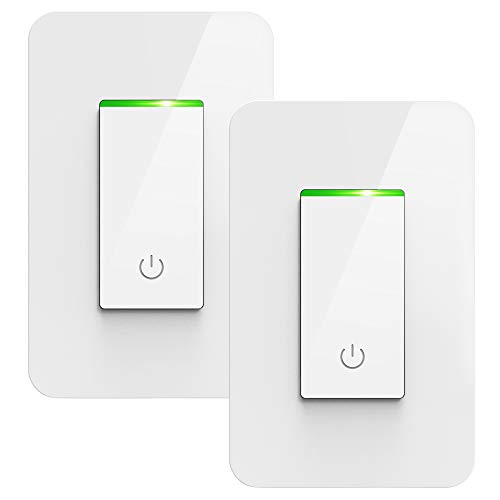 Smart Light Switch, TONBUX Alexa Light Switch Compatible with Amazon Alexa Google Assistant IFTTT, Voice/Touch/APP Control Wi-Fi Light Switch FCC/ETL Listed Smart Life APP iOS Android-2 Packs