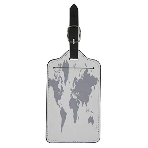 (Pinbeam Luggage Tag Country Political Map of the World Gray Countries Suitcase Baggage Label)