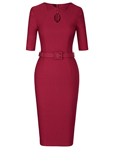 MUXXN Lady Black Five Day Celebrity Fashion Keyhold Neck Tea Length Dress (Burgundy XL) ()