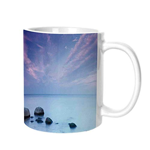 Seaside Decor Fashion Coffee Cup,Baltic Sea Coast Autumn Sunset Evening View Boulders on Water Tourism Picture For office,One size