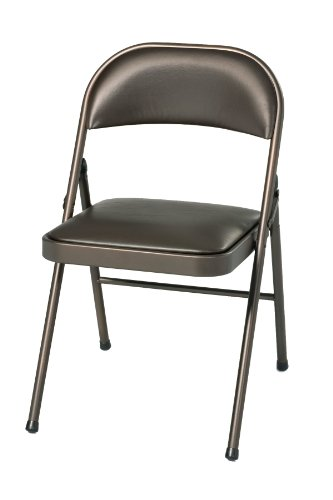 Meco 4-Pack Deluxe Vinyl Padded Folding Chair, Cinnabar Frame and Cinnabar Vinyl Seat and Back