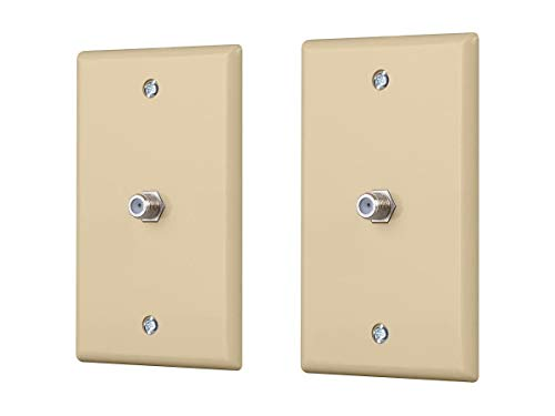 Monoprice Cable TV Jack Wall Plate - Ivory (2 Pack) | Terminating Coaxial (RG-6, RG-59) Television Or Data Lines