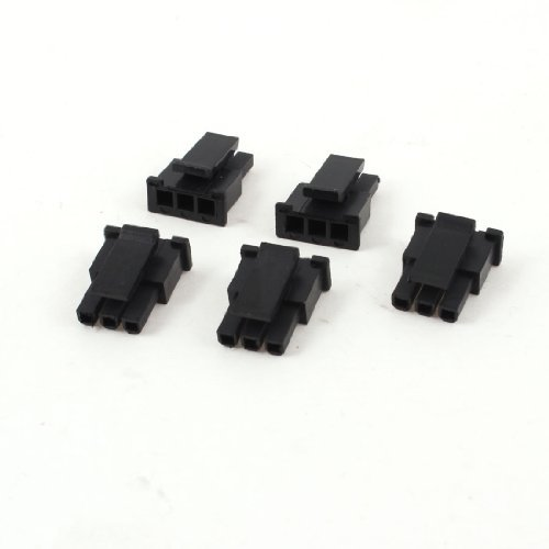 DealMux 5 Pcs Plastic 3 Pole Male Power Supply Module ATX Connector Black (Poder De Fuente Pc)