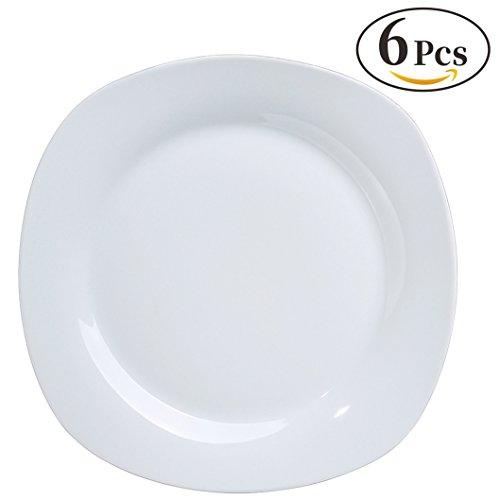 YHY 6 Pcs 10.5-inch Porcelain Dinner Plates, Square Round Se