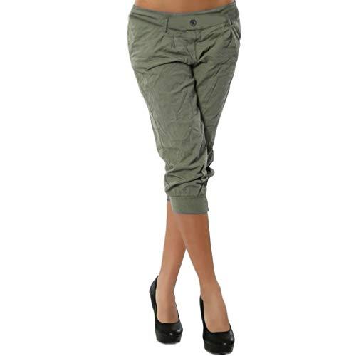 JOFOW Capri Pants for Women Casual Solid Slim Low Waist Straight Leg Knee Length Pencil Elegant Workwear Chic Midi Trousers (5XL,Green -1)