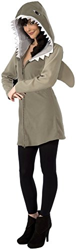Forum Novelties Women's Hoodie Shark Costume, Gray, Standard -