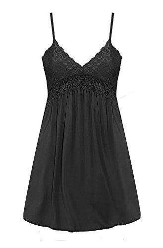 - Saifeier PJ Women's Sexy Negligee Nighties Sleepshirt(Black,M)
