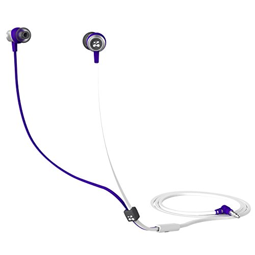Zipbuds SLIDE Sport Earbuds with Mic (Most Durable, Tangle-Free, Workout In-Ear Headphones) – (White & Purple)