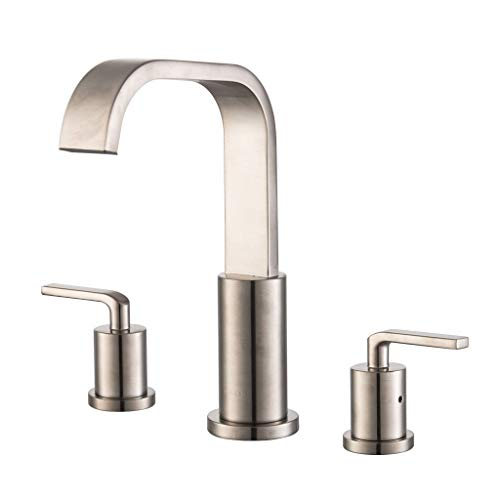 SIIKEYE Two Widespread Handle Lead-free Bathroom Lavatory Sink Faucet with Supply Hose