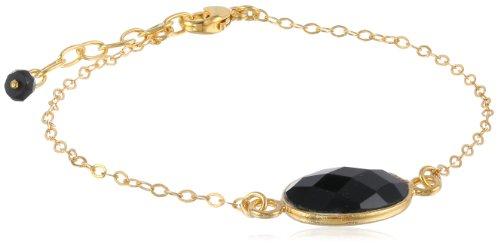 Gold over Silver Faceted Oval Black Onyx Bezel Bracelet,