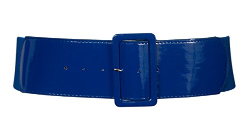 eVogues Women's Wide Patent Leather Fashion Belt Navy - One Size Junior