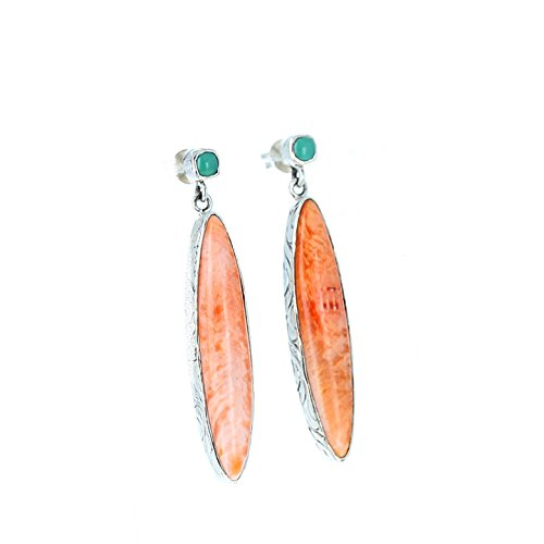 Turquoise Marquis (Carico Lake TURQUOISE and SPINY OYSTER Sterling Earrings Marquis)