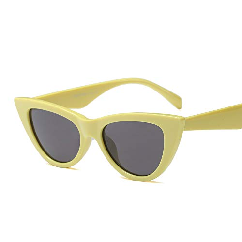 Vintage Retro Women Cateye Sunglasses Clout Goggle Small Fun Colorful Shades (Yellow)
