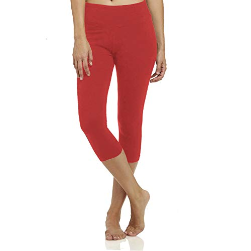 - High Waisted Soft Capri Leggings for Women-Tummy Control-One/Plus Size 20+Design  (Red, ONE Size (US 2-12))
